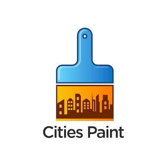 Ciudades, pintura, logotipo, plantilla, diseño, vector