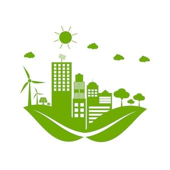 Las ciudades verdes ayudan al mundo con ideas conceptuales ecológicas.