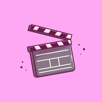 Clapper board film icon ilustración. concepto de icono de cine de película aislado. estilo plano de dibujos animados