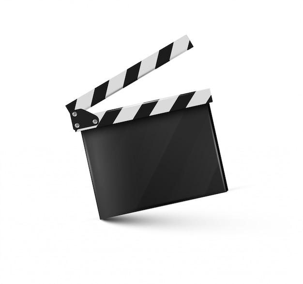 Clapper.cinema.board realista sobre un fondo blanco.film.time.