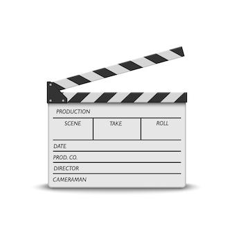Claqueta de cine realista en blanco