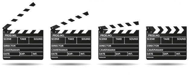 Claqueta negra con campos vacíos para el nombre de la película abierto y cerrado. filmando películas