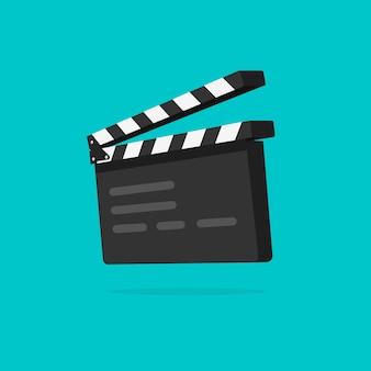 Claqueta o película pizarra aislada de dibujos animados plana