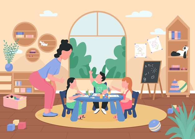 Clase de arte en la ilustración de color plano de jardín de infantes