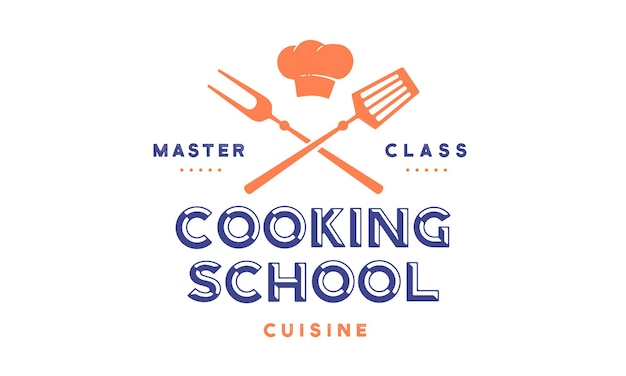 Clase de escuela de cocina con herramientas de barbacoa de icono, tenedor de parrilla, espátula, tipografía de texto coocking school, master class
