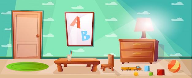Clase de escuela primaria con mesa para estudiar a los niños.