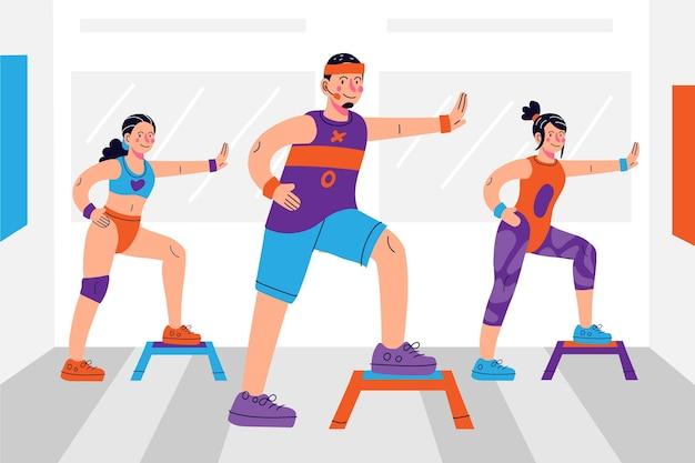 Clase de fitness de baile dibujado a mano plana con personas.