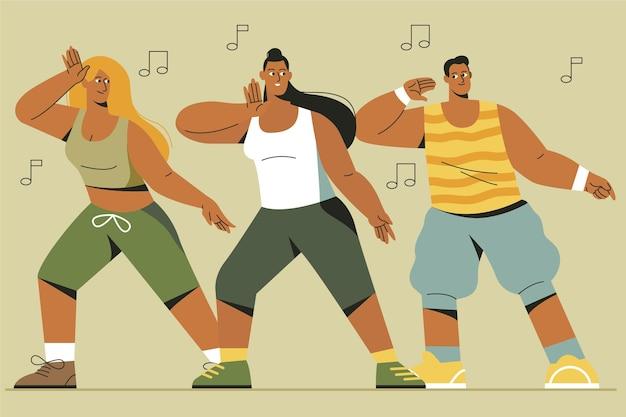 Clase de fitness de baile dibujado a mano plana