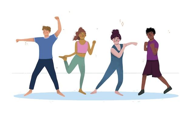 Clase de fitness de baile dibujado a mano plana vector gratuito