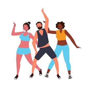 Clase de fitness de baile plano ilustrada