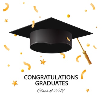 Clase de graduación de 2019. cartel, invitación de fiesta, tarjeta de felicitación en colores dorados. cartel de graduado, ilustración.
