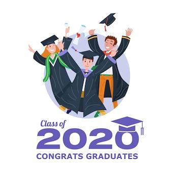 Clase de graduación de 2020 banner con estudiantes graduados saltando.