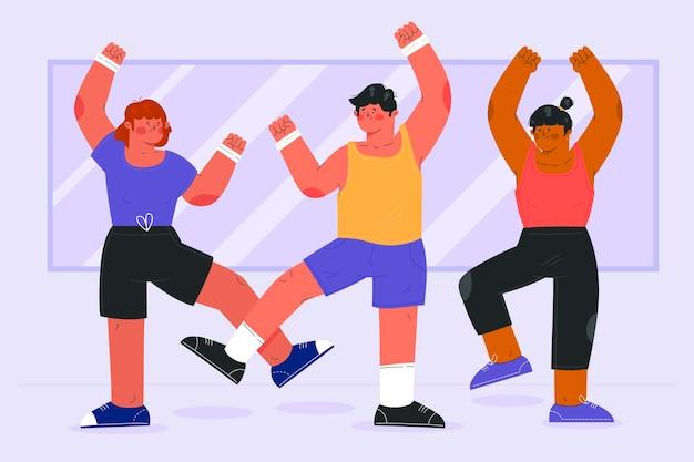 Clase ilustrada de baile y fitness. vector gratuito