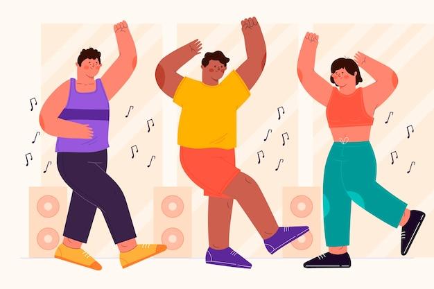 Clase ilustrada de baile y fitness.