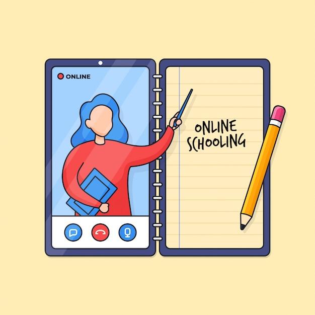 Clase en línea enseñanza y aprendizaje digital para la ilustración de esquema de educación escolar a distancia moderna