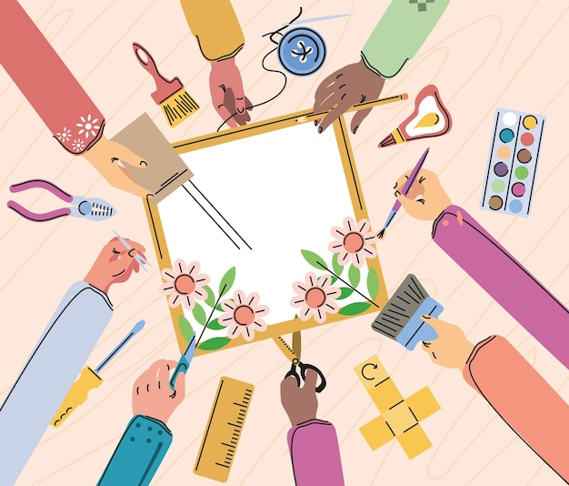 Clase de manualidades, manos y herramientas.