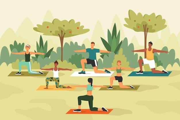 Clase de yoga al aire libre con gente haciendo ejercicio.