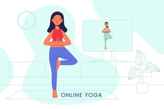 Clase de yoga en línea de diseño plano