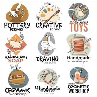 Clases de alfarería y taller de artes creativas, jabón artesanal o dibujo. realización de juguetes y productos cerámicos, cosmética o lecciones de costura para personas creativas. etiquetas y emblemas. vector en estilo plano