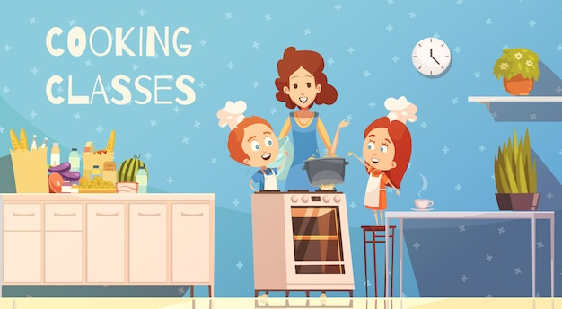 Clases de cocina para niños ilustración vectorial