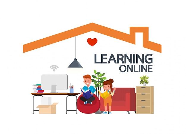 Clases de educación a distancia en línea para niños durante el coronavirus. distanciamiento social, autoaislamiento y concepto de quedarse en casa. diseño de vector de personaje de niño.