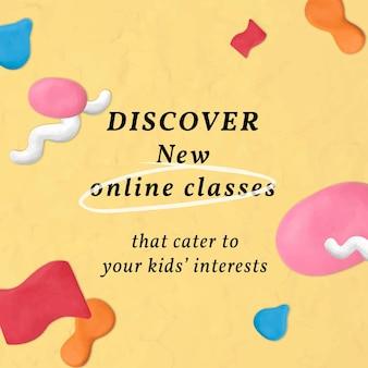 Clases en línea plantilla de educación vector plastilina arcilla con dibujos de anuncios de redes sociales
