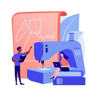 Clases profesionales de costura. educación vocacional, confección de ropa, formación de costureras. producción de ropa artesanal. cursos de corte y confección. ilustración de metáfora de concepto aislado de vector