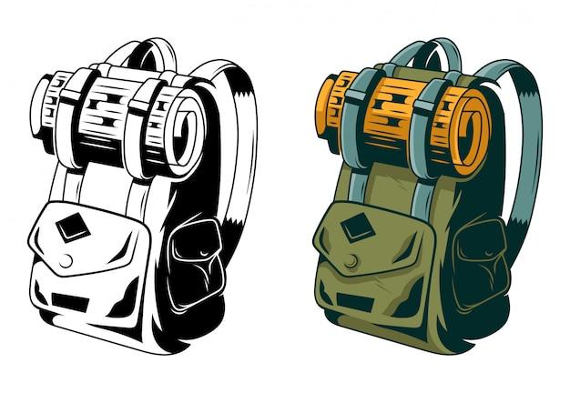 Clásica mochila vintage para viajes y aventuras.