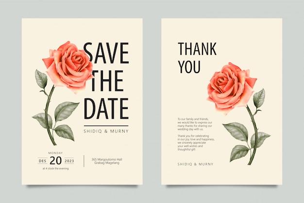 Clásico guarda la fecha y tarjetas de agradecimiento con flor rosa.