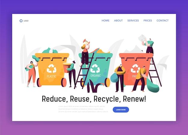 Clasificación de basura orgánica para reciclar la página de destino.