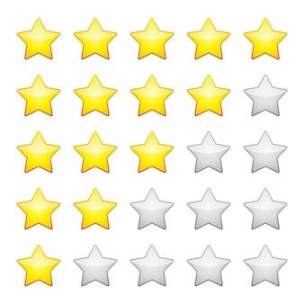 Clasificación de estrellas aisladas. elemento de diseño ilustración vectorial.