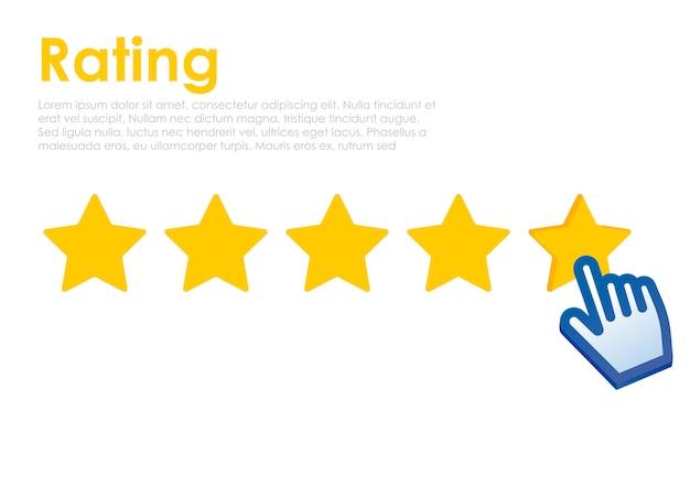 Clasificación de estrellas con cursor en el sitio web. comentarios para el usuario en línea.