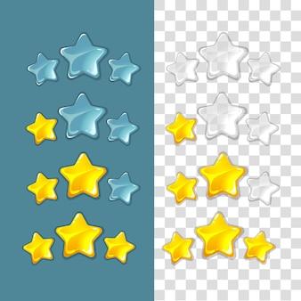 Clasificación de estrellas. elementos de juego de vector en estilo de dibujos animados. clasificación de estrellas, clasificación de estrellas de juegos de oro, clasificación de estrellas de éxito, mejor clasificación de la ilustración de la interfaz de estrellas