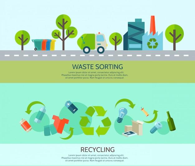 Clasificación de residuos y reciclaje banners horizontales con materiales y plano de fábrica