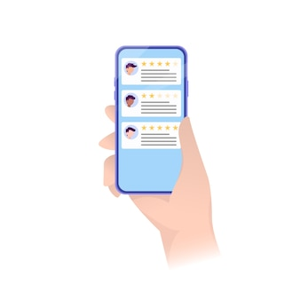 Clasificación de teléfonos inteligentes en concepto moderno de notificaciones de testimonios, comentarios. concepto de cliente. el teléfono inteligente revisa las estrellas con buena y mala tasa.