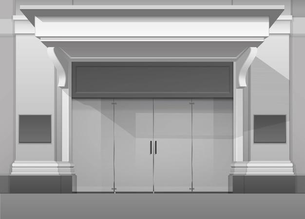 Classic shop boutique building frente de tienda con puerta de vidrio cerrada, columnas, visera de techo y lugar para nombre aislado sobre fondo blanco