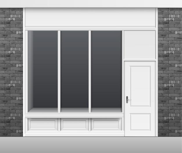 Classic shop boutique building store front con escaparate de ventanas de vidrio, puerta cerrada y lugar para nombre aislado sobre fondo blanco.