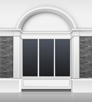 Classic shop boutique building store front con escaparate de vidrio de windows y lugar para el nombre aislado sobre fondo blanco.
