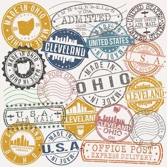 Cleveland ohio conjunto de diseños de estampillas de viajes y negocios