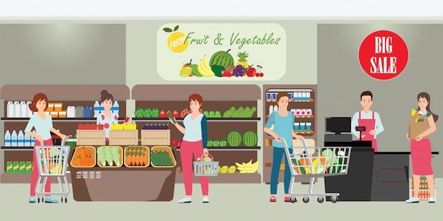 Cliente y cajero en supermercado.
