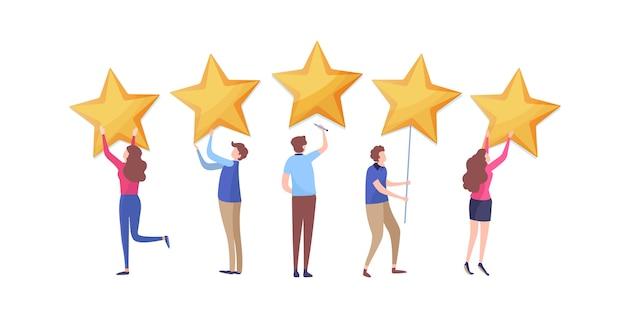 El cliente da una calificación de cinco estrellas.