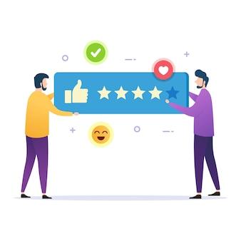 El cliente da voto buenos comentarios resultados de la revisión