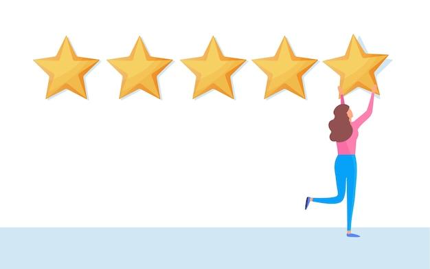 Cliente dando calificación de cinco estrellas
