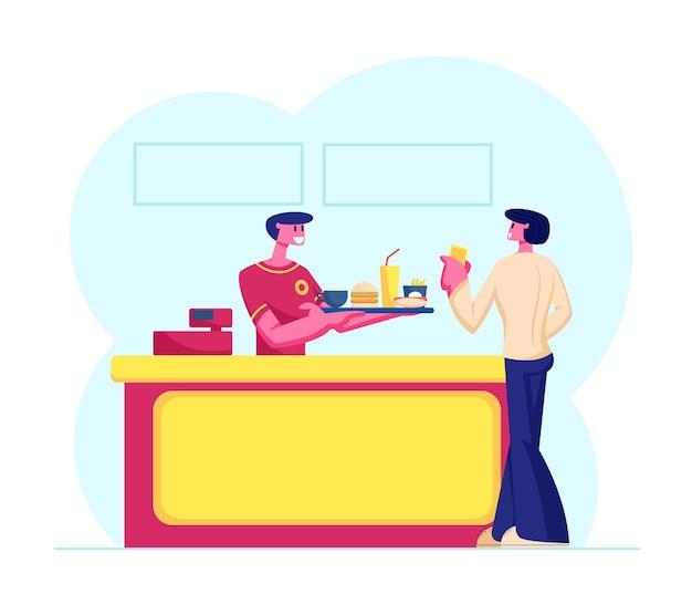 Cliente joven comprando comida rápida combinada en mostrador con vendedor amistoso en bandeja uniforme con hamburguesa, ilustración plana de dibujos animados