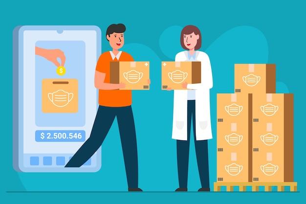 Cliente y material médico llevando cajas