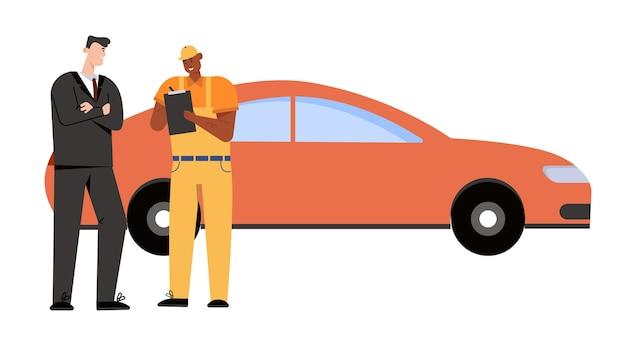El cliente y el mecánico de automóviles firman un acuerdo para reparar el automóvil y pagar el trabajo.