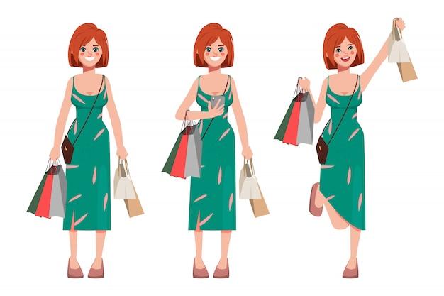 Cliente mujer de compras en grandes almacenes y mantener bolsas ecológicas de bienes.