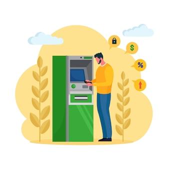 Cliente parado cerca de un cajero automático y retirar dinero