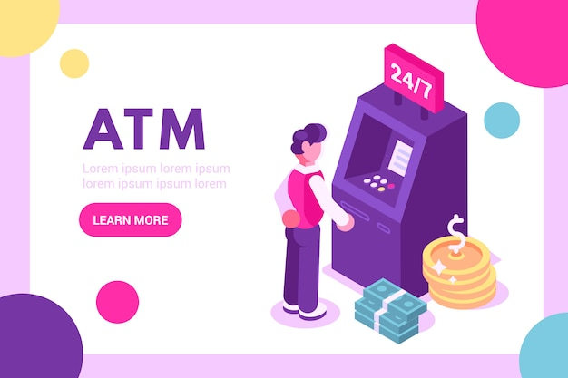 Cliente de pie cerca de cajero automático y con ilustración de tarjeta de crédito
