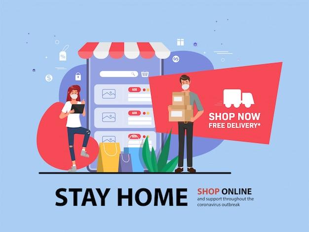 Cliente que compra en línea durante covid-19. quédese en casa evite propagar el coronavirus.